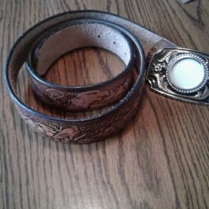 Cowhide leather belt with buckle